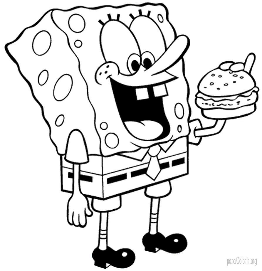 Bob Esponja comendo hamburger