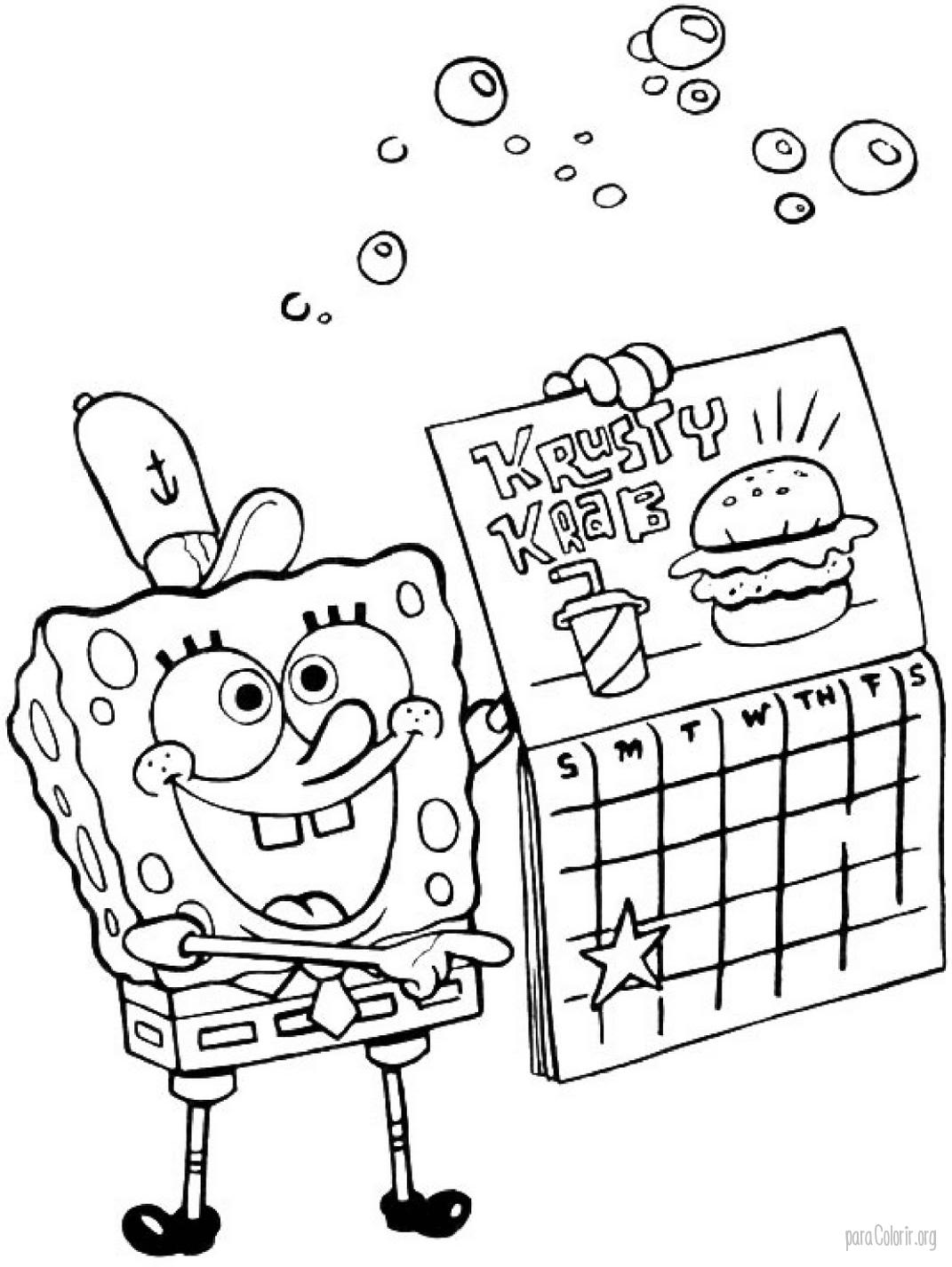 Bob Esponja segurando calendário