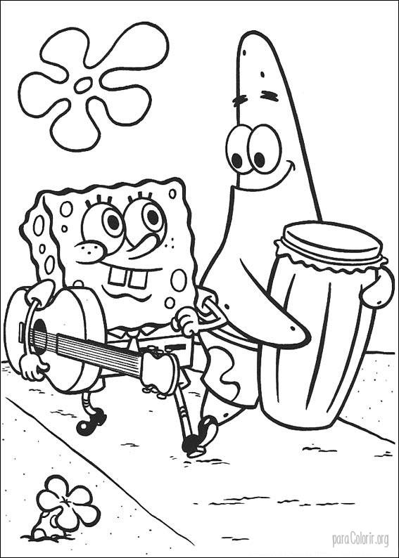Bob Esponja e Patrick com instrumentos musicais