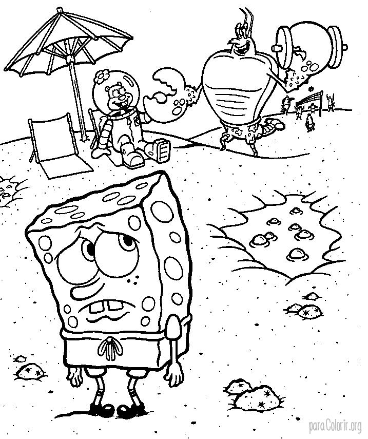 Bob Esponja na praia