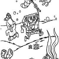 Patrick e Bob Esponja caçando água viva