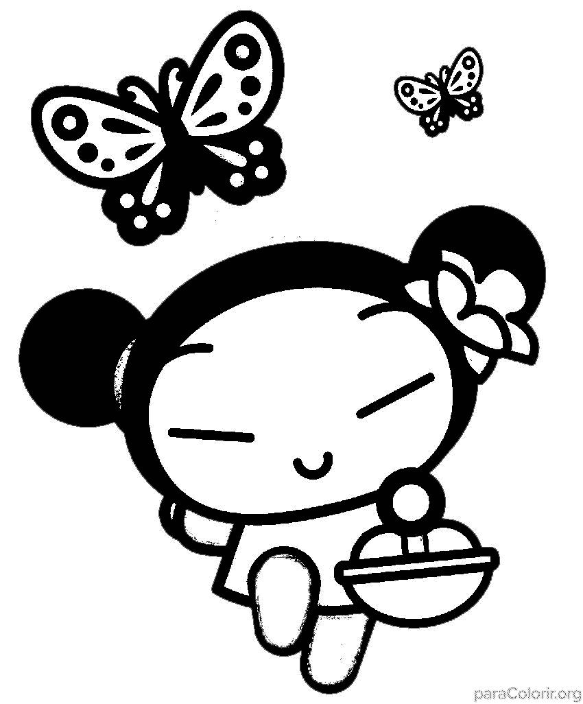 Pucca com borboletas