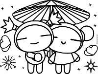Pucca e Garu com guarda-chuva