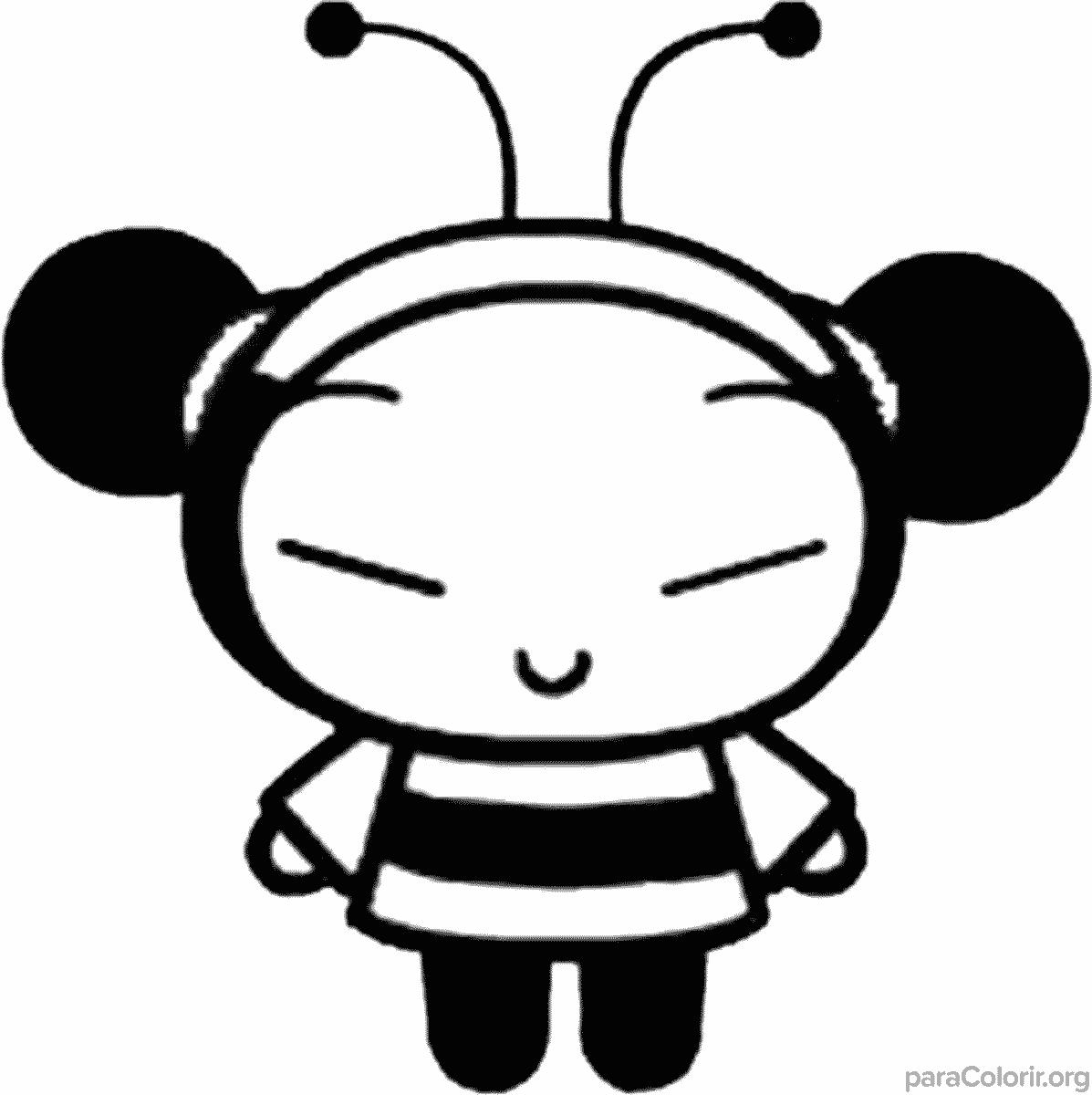 Pucca fantasiada de abelha