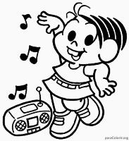 Desenho da Mônica dançando