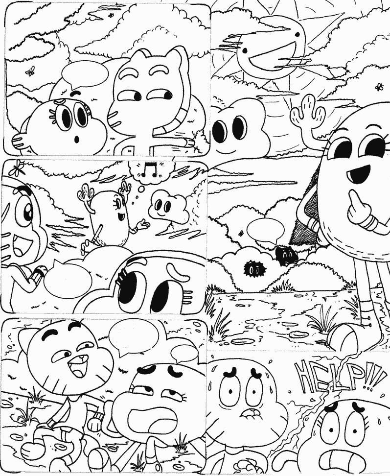 História em quadrinhos do Gumball para colorir