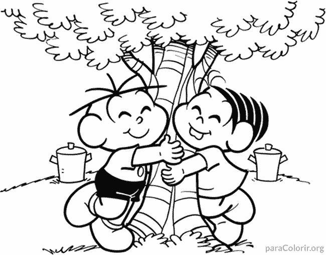 Mônica e Cebolinha abraçando árvore