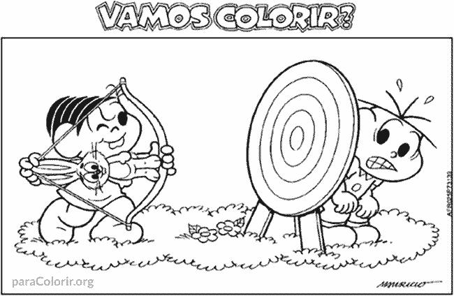 Mônica e Cebolinha brincando de arco e flecha