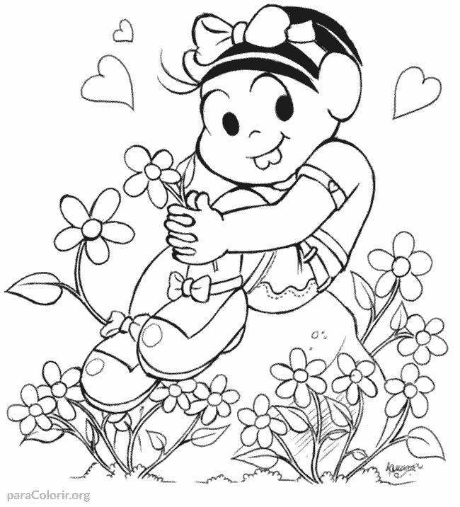 Mônica em volta das flores