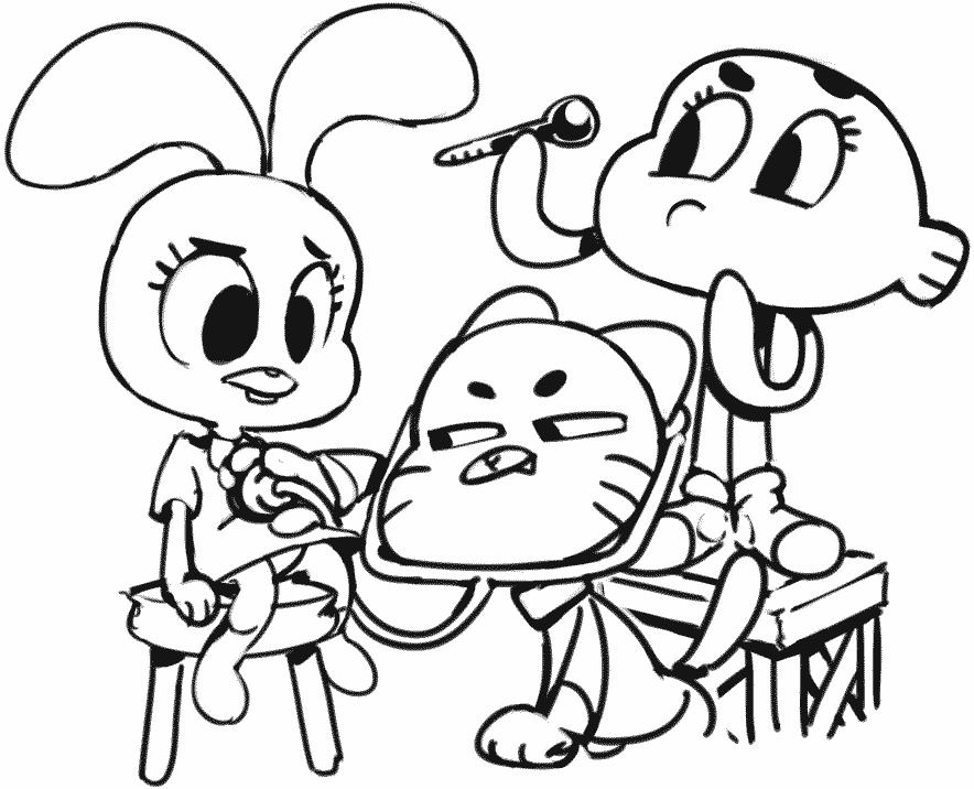 Turma de Gumball brincando de médico