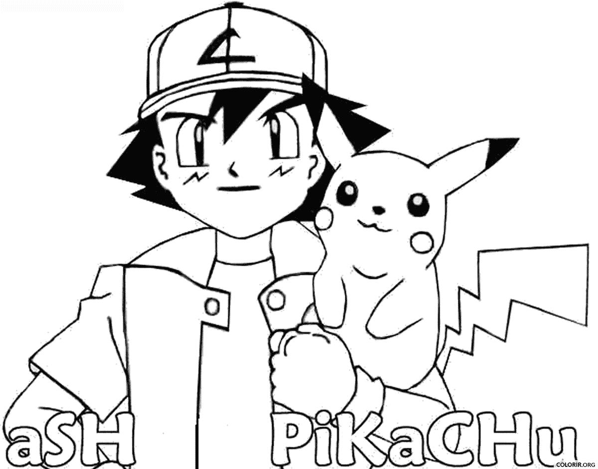 Pokémon: Ash e Pikachu para colorir