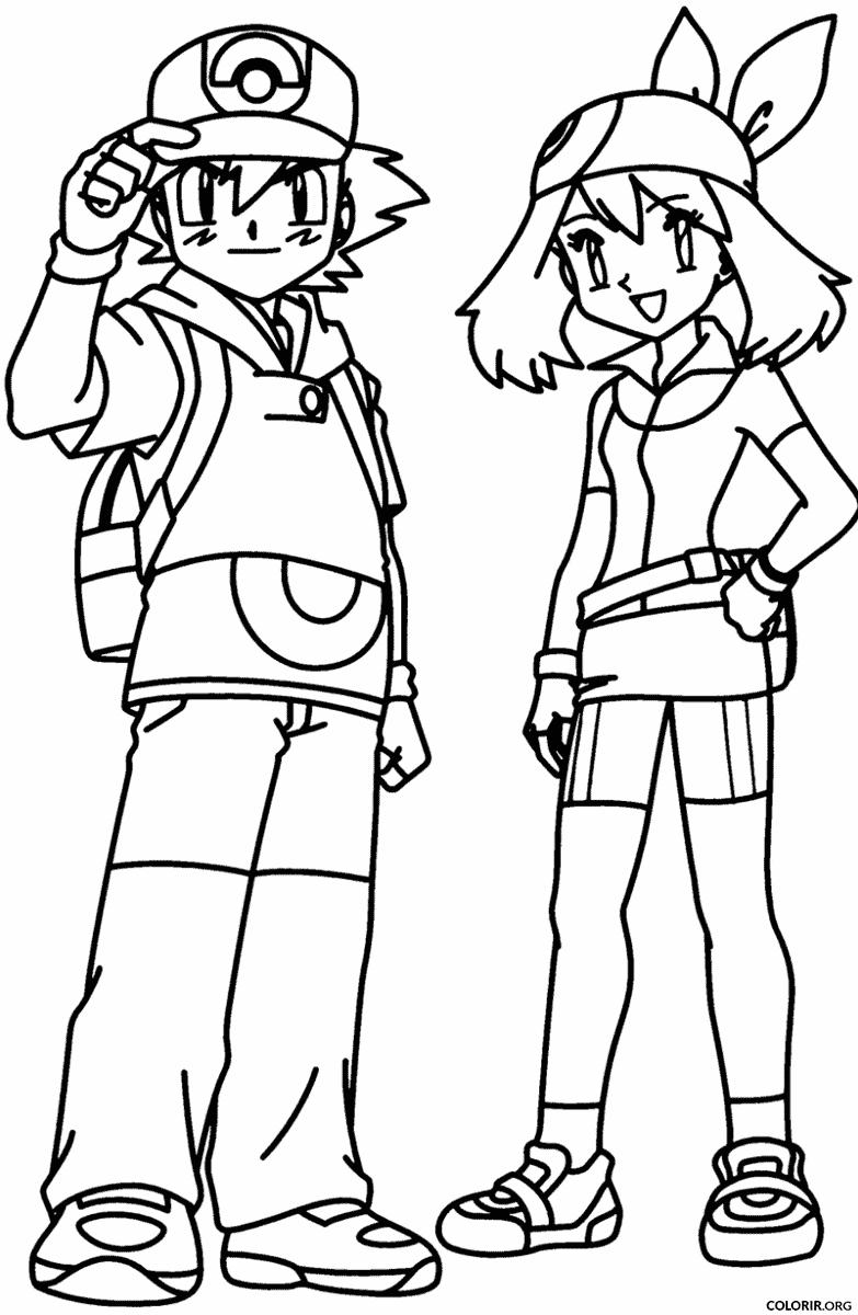 Pokémon: Ash e sua amiga para colorir
