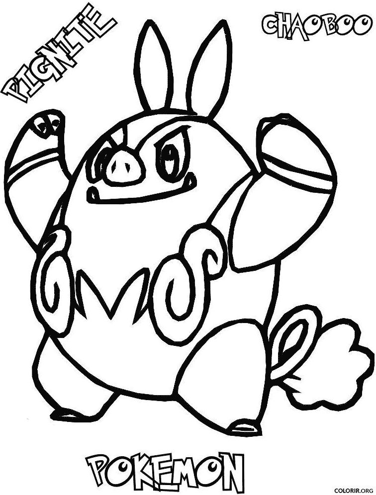 Pokémon: Pignite para colorir