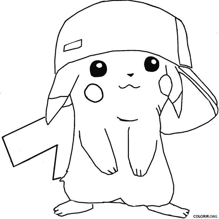 Pikachu De Boné Para Colorir