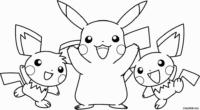 Pikachu e Pichus para colorir