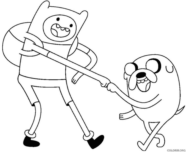 Finn E Jake Brincando Colorir Org