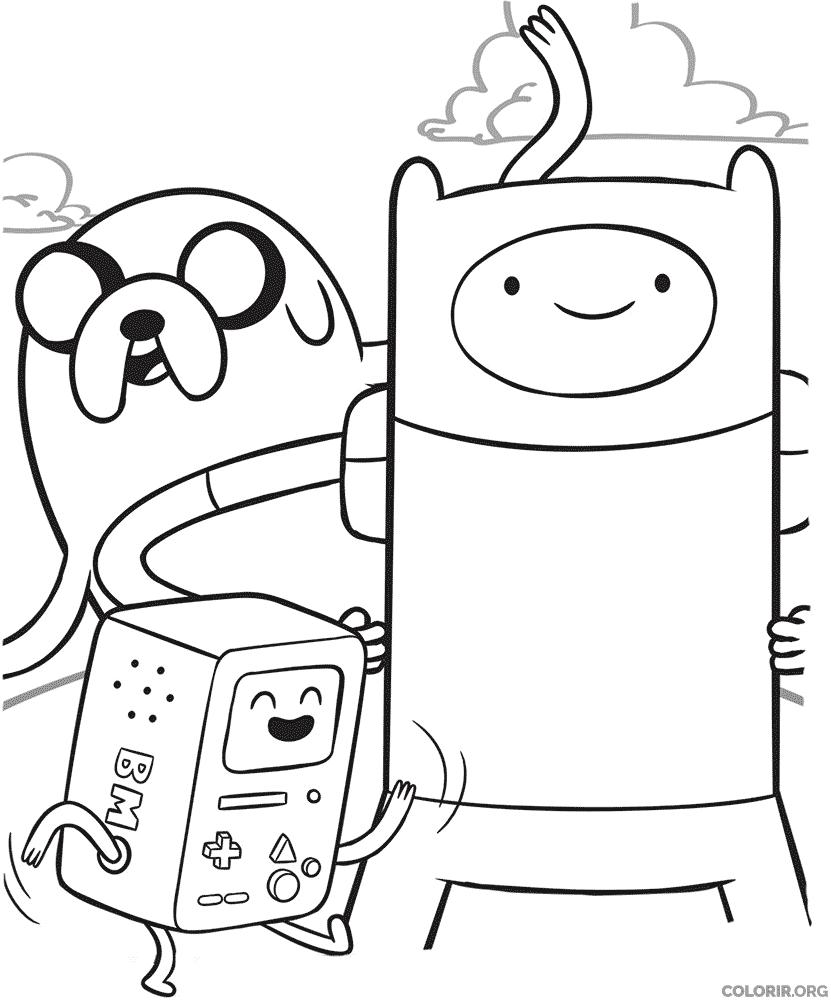 Finn, Jake e BMO para colorir