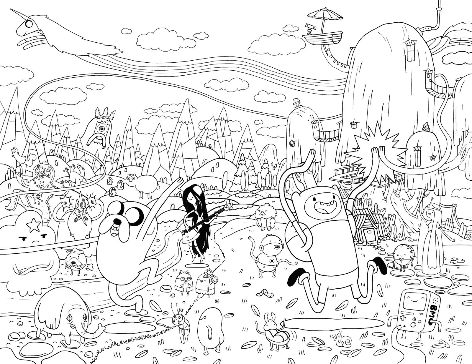O mundo de Hora de Aventura para colorir