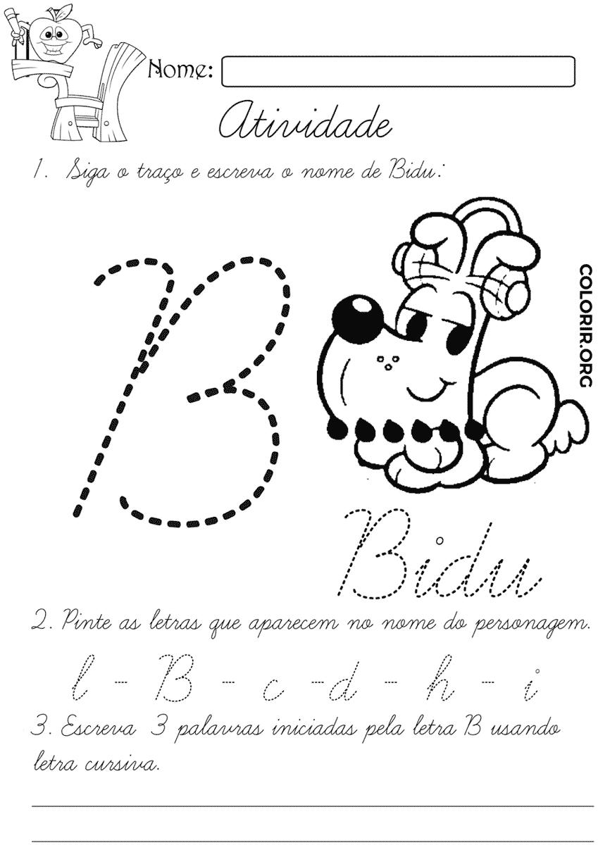 Atividade do Bidu para criança na escola