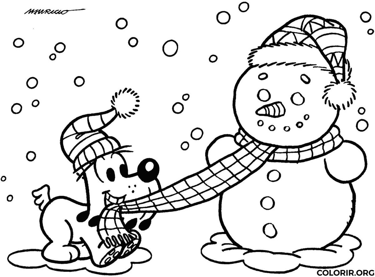 bidu brincando com boneco de neve colorir org