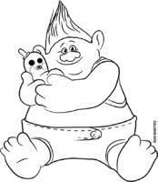 Biggie, de Trolls, para colorir