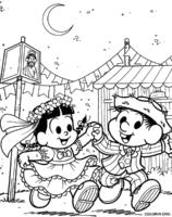 Casamento do Chico Bento e Rosinha para colorir