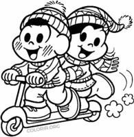 Cascão andando de patinete com Magali