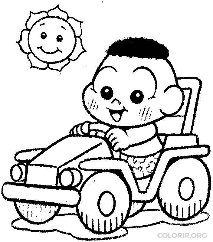 Cascão baby dirigindo