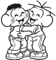 Cascão e Cebolinha se abraçando