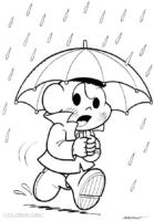 Desenho do Cascão se protegendo da chuva para colorir