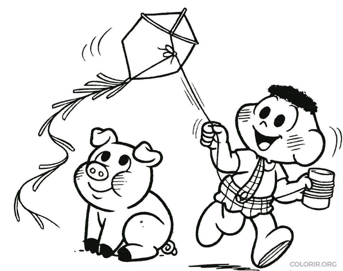 Cascão soltando pipa com chovinista