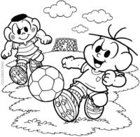 Desenho do Cebolinha e Cascão jogando futebol