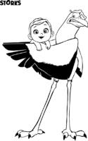 Cegonha segurando bebê