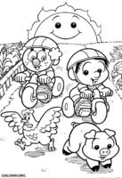 Chico Bento baby andando de motoca