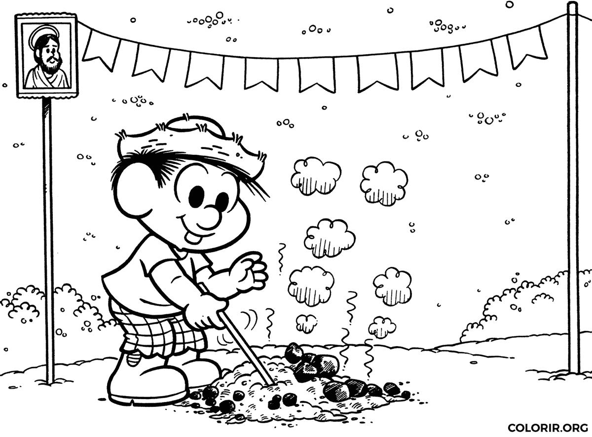 Chico Bento e fogueira de Festa Junina