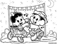 Chico Bento e Rosinha dançando quadrilha