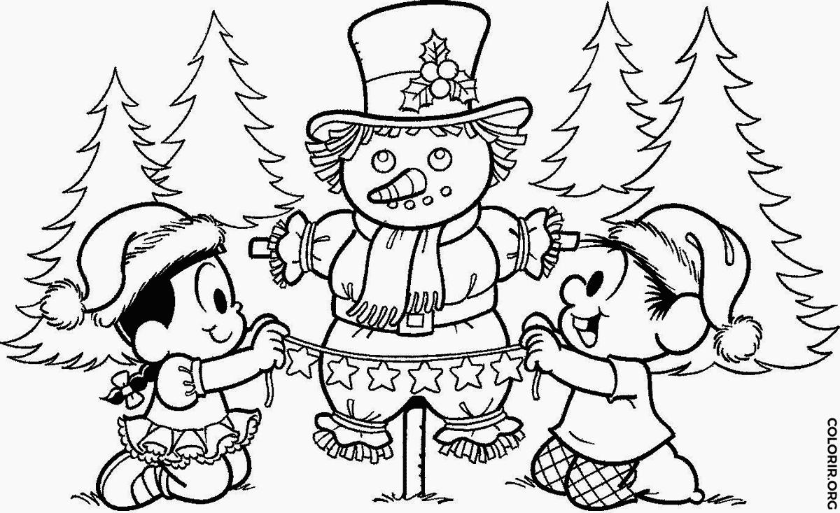 chico bento e rosinha fazendo boneco de neve colorir org
