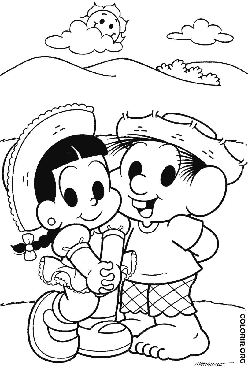 Chico Bento e Rosinha para colorir
