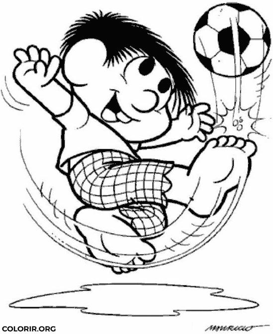 Chico Bento jogando futebol