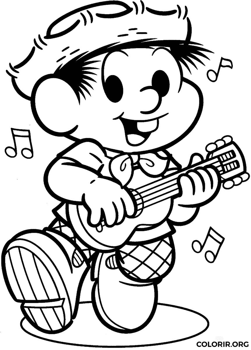 Chico Bento para colorir – desenho tocando música!