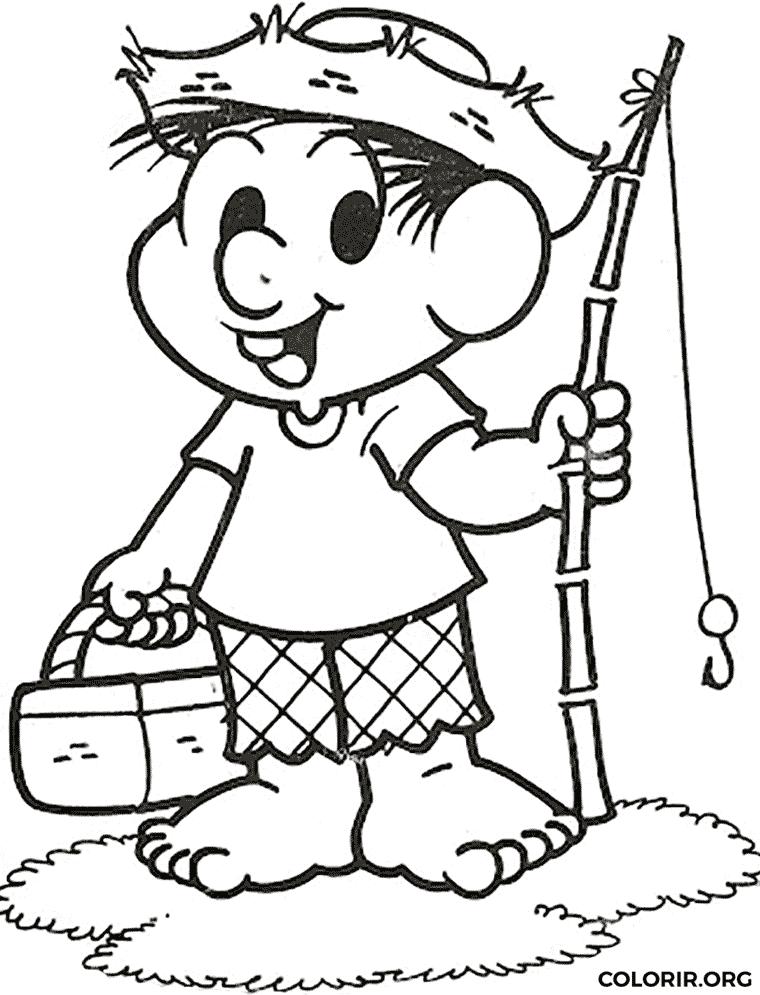 Chico Bento pescando para colorir
