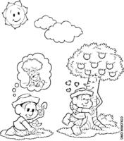 Chico Bento plantando árvore
