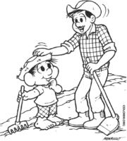 Chico Bento plantando com seu pai para colorir