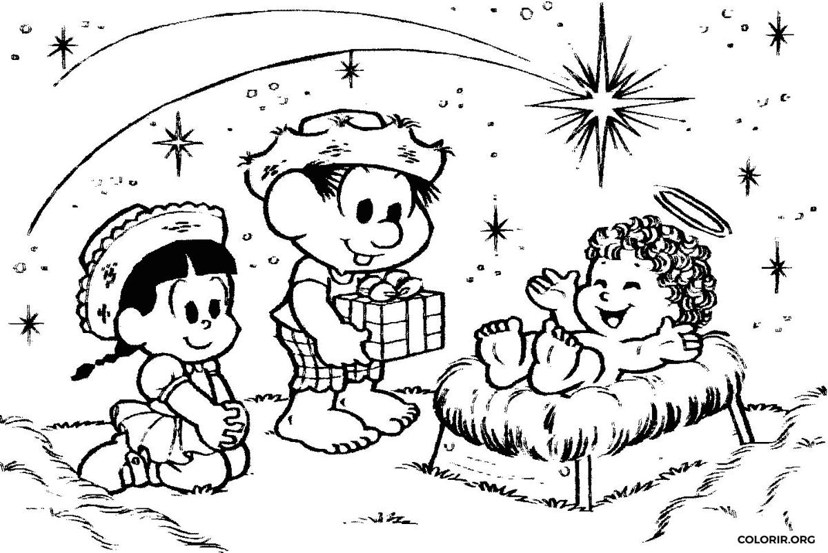 Chico Bento, Rosinha e menino Jesus para colorir