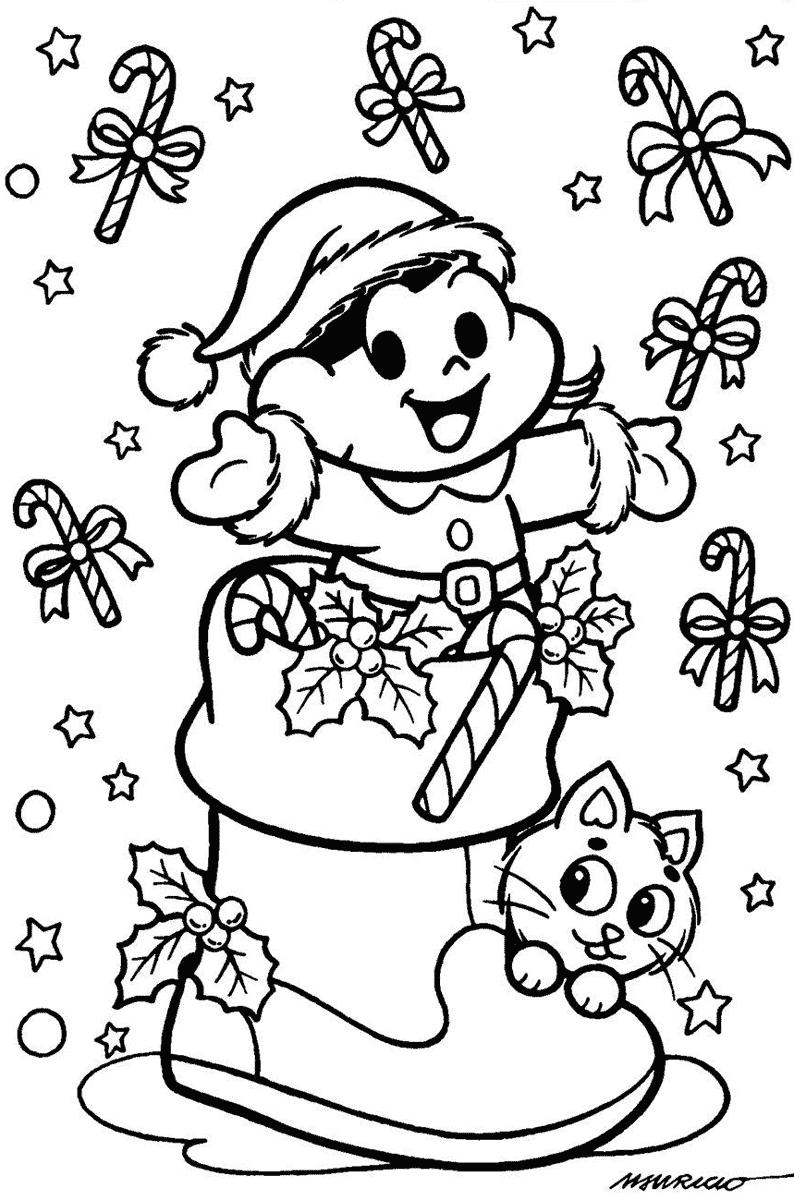 Desenho da Magali celebrando o Natal