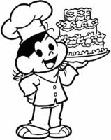 Desenho da Magali com bolo gigante