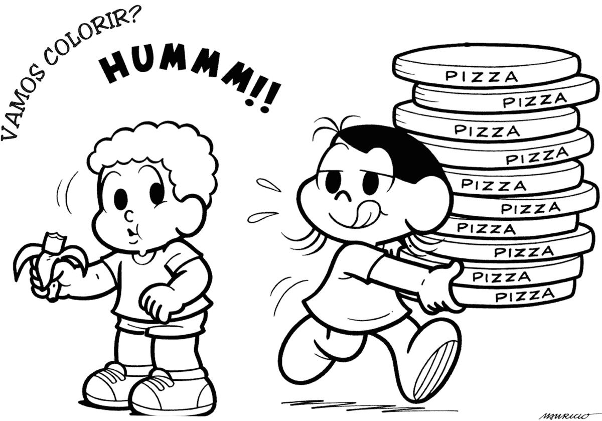 Desenho da Magali com pizzas
