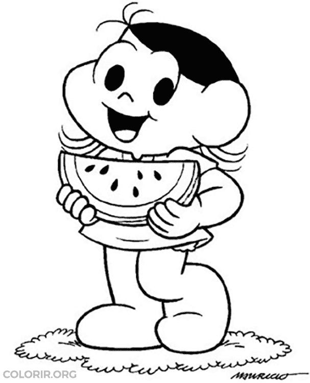 Desenho da Magali comendo melancia para colorir