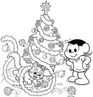 Desenho da Magali e Mingau montando árvore de Natal para colorir