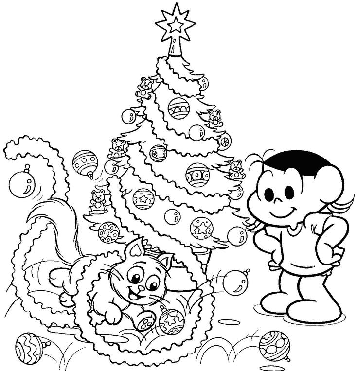Desenho Da Magali E Mingau Montando árvore De Natal Para